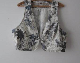 Flowers Print Vest Women's Cropped Vest Extra Large Short Waistcoat Festival Bolero Vest