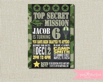 Camo Invitation, Camo Birthday Invitation, Camouflage Invitation, Army Invitation, Camo Birthday, Printable Camo Invitation, Army Party