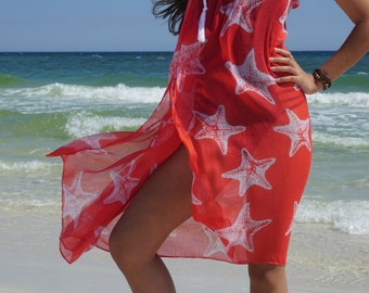 Beach sarong, Corral and White Starfish, can be worn as beach cover up, wrap skirt, beach dress