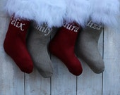 Personalized Christmas Stocking Red Stocking Faux Fur Christmas Stocking Fur Stocking Red Christmas stockings Faux fur stocking