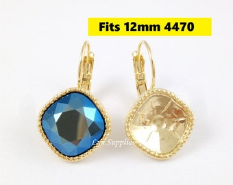 Gold Cushion Earrings Settings 1 Pair Fit Swarovski Crystal 4470 12x12mm Glue On Nickel Free Leverback Decorated Edges
