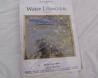 Monet Water Lilies Cross Stitch Kit FREE Shipping USA