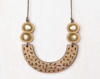 Delta - Geometric Confetti Wood Necklace with Polymer Clay beads - gold glitter - laser cut