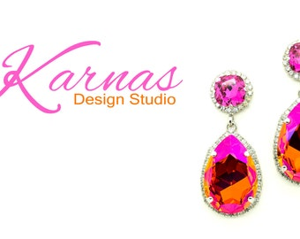 ASTRAL ALLURE 12mm Cushion Cut & Pear Chandelier Halo Earrings Swarovski Crystals *Rhodium Finish *Karnas Design Studio *Free Shipping