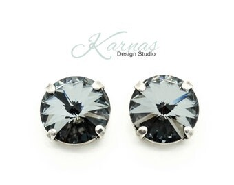CRYSTAL SILVER NIGHT 12mm Rivoli Stud or Post Earrings Made With Swarovski Elements *Pick Your Finish *Karnas Design Studio *Free Shipping