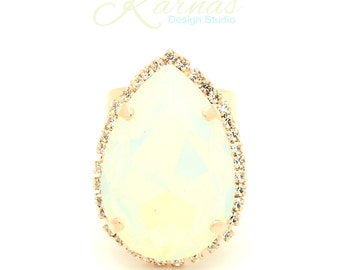 WHITE OPAL 30x20mm Pear Crystal Halo Adjustable Ring Made With Swarovski Elements *Rose Gold *Karnas Design Studio STATEMENT *Free Shipping