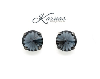 GRAPHITE 12mm Crystal Rivoli Stud or Post Earrings Swarovski Elements NEW 2017  *Pick Your Finish *Karnas Design Studio *Free Shipping
