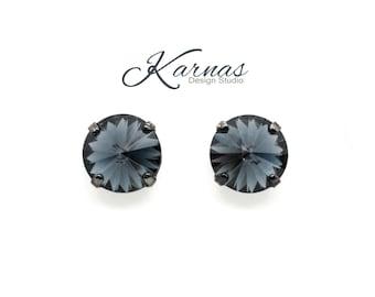 GRAPHITE 12mm Crystal Rivoli Stud or Post Earrings Swarovski Elements NEW 2017  *Pick Your Finish *Karnas Design Studio *Free Shipping