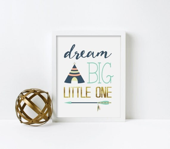 Nursery Art, Dream Big Little One, Tribal, Teal, gold, Framed, Canvas, Art Print #516