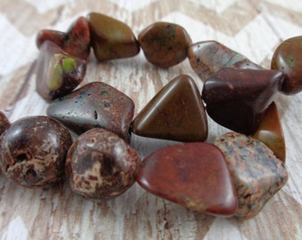 6 Colored Turquoise Variety Shapes Sizes Colors Brown Red Green Stone Beads Round Various Shapes Sizes Texture Beads Brown Green Red Beads