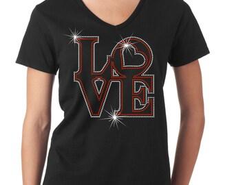 Love Shirt, Heart Bling T-Shirt, V-Day Shirt, Valentines Gift