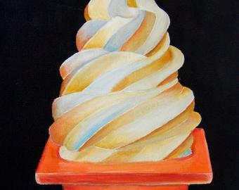 Ice cream in traffic cone, soft serve, swirl, icecream, dessert, cone, painting