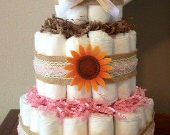 3 tier Diaper Cake, Autumn Diaper Cake, Fall Shower Decorations, Sunflower Baby Shower Centerpieces, Baby Shower Decorations, Baby Girl Gift