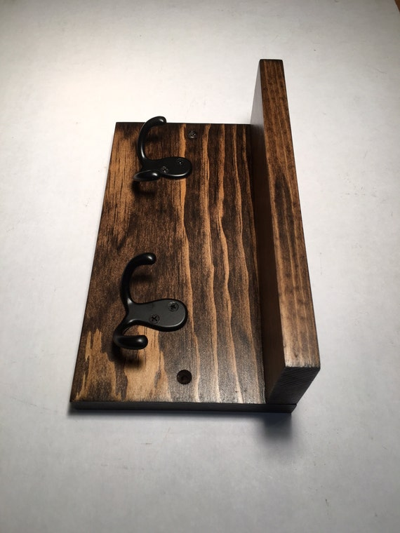 small hook rack with shelf 2 hooks entryway by. Black Bedroom Furniture Sets. Home Design Ideas