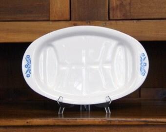 "Blue Cornflower ~ Meat/Carving Platter ~ Corning Ware ~ P-19 ~ Vintage Kitchen ~ 16.5"" x 10.25"" ~  Vintage Corning Ware"
