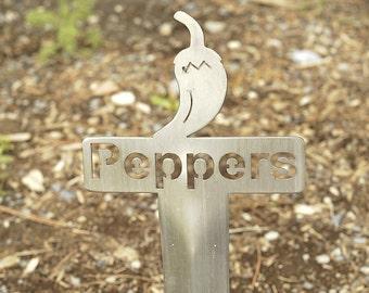 Hot Peppers Garden Marker (Stainless Steel)