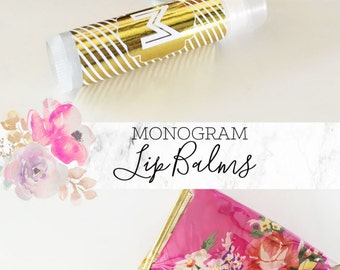 Bridesmaid Lip Balms - Monogram Lip Balm Favors - Unique Bridesmaid Gifts - Bridal Party Gift Chapsticks - Gold Monogram (EB3165) SET OF 8