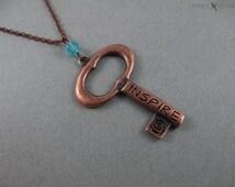 Copper Inspire Key Pendant - Writer Gift