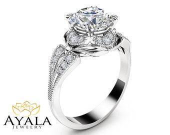 2 Carat Moissanite Engagement Ring 14K White Gold Engagement Ring Unique Moissanite Ring