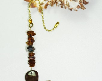 Brown and White,  Agate Ceiling Fan Pull,  Agate Fan Chain Pull, Light Chain Pull,   Natural Stone,  One of a Kind, Agate Pendant