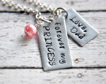 Necklace for daughter from father jewelry for daughter gift forever my princess necklace necklace for daughter hand stamped necklace father daughter necklace aloadofball Gallery