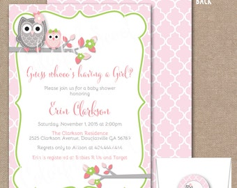 Owl Baby Shower Invitation, Girl, Baby Shower Invite, Baby Shower Invitation, Pink, Grey, Owl, Owl Baby Shower Invite, Owl Invite, #0002