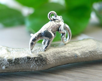 Sterling Silver Anteater Necklace, Giant Anteater, Ant Eater, Vermilingua, Anteater Jewelry, Small Anteater, Anteater Pendant