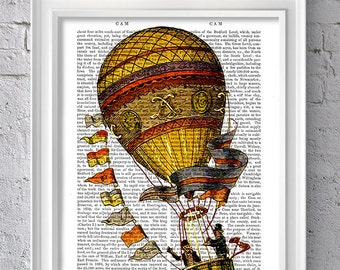 Vintage Balloon Gold & Flags - Hot Air Balloon Print Balloon Illustration Hot Air Balloon decor wall art wall decor wall hanging family room
