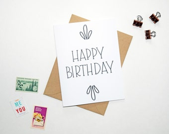 Card - Hand Lettered Happy Birthday, with Sunbursts   Birthday Card, Hand Lettering