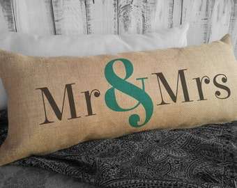 Mr and Mrs Pillow, Bride and Groom Gift, Wedding Pillow, Wedding Gift, Ampersand Pillow Husband and Wife Gift, Lumbar Pillow SPS-021 Burlap