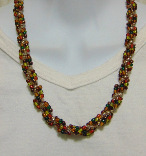 clearance fall colors seed bead rope necklace 20 inch length