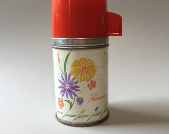 ALADDIN METAL THERMOS, Vintage Aladdin thermos, Thermos with flowers, thermos with red lid, vintage collectible thermos, Princess thermos