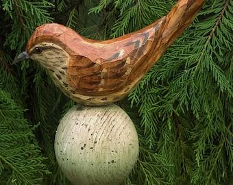 Hand Carved Garden Post Birds