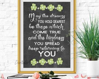 Irish blessing print St Patricks day print Irish blessing printable Green and black wall decor Chalkboard art Clover leaf print DOWNLOAD