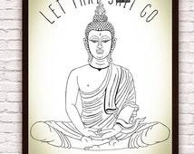 Motivational Meditating Buddha Let That Sh*t Go //  Zen Funny Wall Art // Yoga Art Yoga Decor // Artwork Poster Print // Bohemian Boho Decor