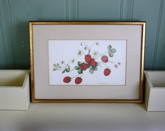 Framed Strawberry Art Print Pat LaPierre Strawberries and Blossoms Matted Botanical Art