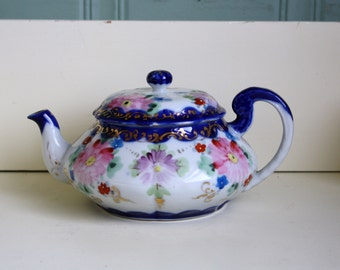 Teapot Nippon Hand Painted Cobalt Floral Asters