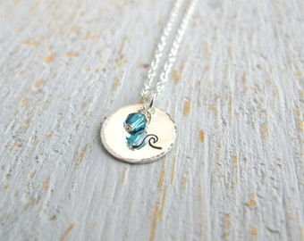 Silver Wave Necklace, Wave Charm Necklace, Sterling Silver Wave Necklace, Beach Necklace