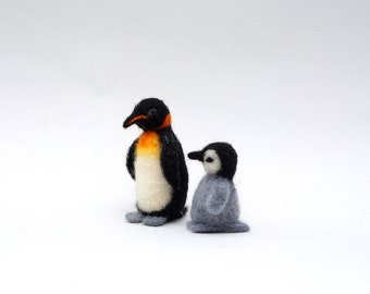 Felted Penguin Wool Bird Miniature Cute family gift Mother and baby Mother's day New mom gift Holiday décor Xmas decor  Small wool Penguin