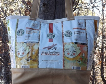 SALE Yellow Coffee Bags & Yurt Fabric Bag Purse Tote Recycled Upcycled Repurposed Canvas