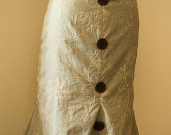 Light grey cotton skirt  with dark brown buttons