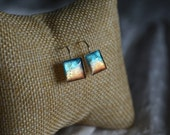 Rustic patina blue sheet metal earrings, unique square dangle earrings, blue patina jewellery, sterling silver blue orange jewelry,