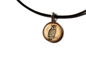 Owl pendant Bird necklace Animal jewelry NWR111