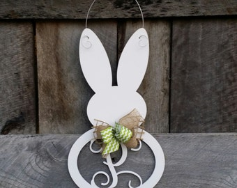 Monogram Bunny Door Hanger - Painted Initial Easter Bunny Wreath - Spring Door Hanger - Personalized Spring Wreath