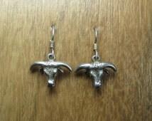 Vintage Southwestern Longhorn Steer Earrings