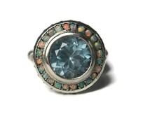 Vintage 3 Carat London Blue Topaz Opal Halo Ring Sterling Size 7