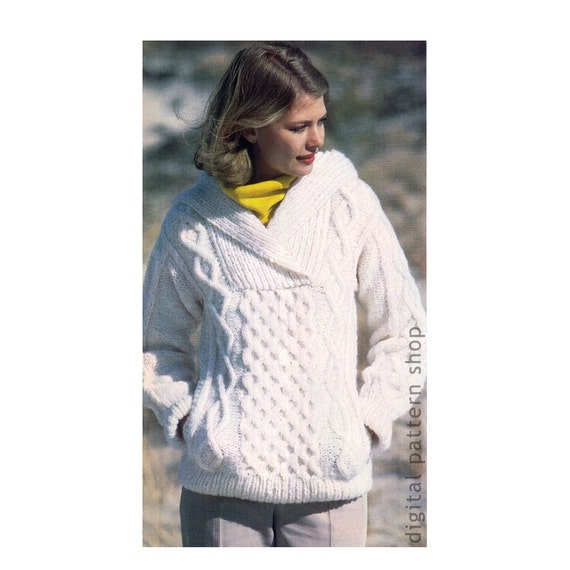 Hooded Sweater Knitting Pattern Irish Knit Sweater Hoodie