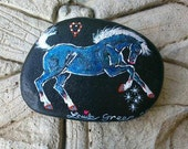 Rock 'N' Ponies - STAR BLUE FILLY - mixed media painting on rock 7.5 x 5 cm