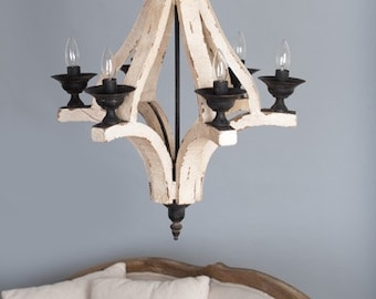 Antiqued White Cottage Distressed 6 Arm Large Chandelier/Shabby Chic/French Country/Custom to Paint