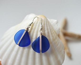 Blue sea glass earrings cobalt blue sea glass jewelry wire wrapped jewelry wire wrapped earrings beaded earrings sterling silver handmade